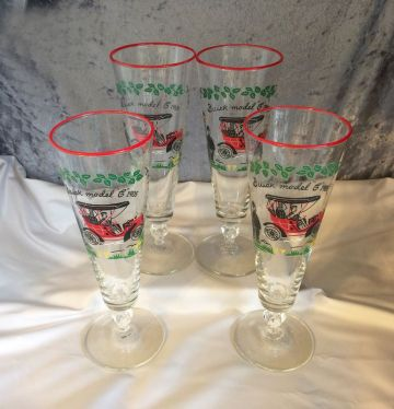 1950s Vintage Libbey 'Buick Model C 1905' Antique Car Pilsner Beer Glasses, Set of Four in BARWARE