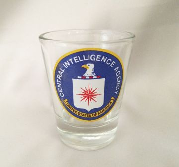 1980s Vintage CIA Shot Glass, U.S. Central Intelligence Agency Logo Glass, Vintage CIA Barware in X-SOLD GALLERY