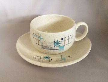 1950s Vintage Franciscan 'Oasis' Coffee Cup and Saucer Atomic Starburst Pattern, Mid Century Atomic Dinnerware in cups & mugs