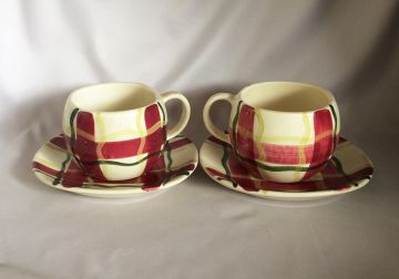 1950s Vintage Purinton Normany Plaid Cups and Saucers, 2 Sets Mid Century Plaid Dinnerware, Hand Painted Slip Ware Pottery Cup and Saucer Sets, HTF in cups & mugs