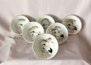 1950s Vintage Japanese Sake Cups, Set of Six Vintage Hand Painted Gilt Sake Cups with Crane Birds, Mid Century Barware in BARWARE
