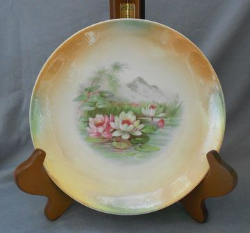 1900s Antique Lusterware Porcelain Display Plate with Lotus Blossoms, Germany in HOME DECOR
