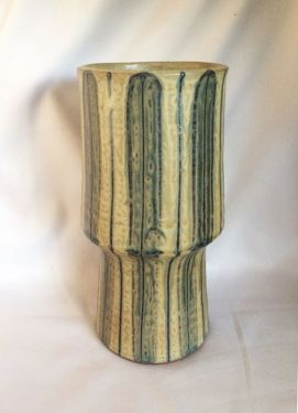 1960s Mid Century Modern Pottery Vase, Japanese Studio Drip Glazed Stoneware Mid Mod Ceramic Vase, Signed in X-SOLD GALLERY