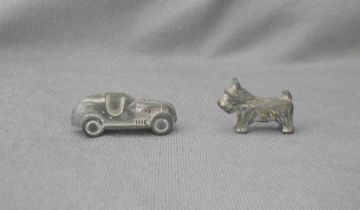 Two Vintage 1960s Monopoly Game Car and Dog Playing Pieces in TOYS