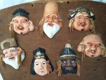 Vintage Seven Lucky Gods Wood Prayer Board, 7 Immortals Japanese Figurines Ema Wood Wall Hanging Plaque Shichi Fuku Jin Gods of Good Fortune in ORIENTALIA