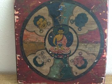 1800s Five Buddhas Wood Painting, Antique Five Dhyani Buddhas Hand Painted Wall Art Panel, 19th Century Antique Chinese Tibetan Art in ORIENTALIA
