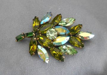 1950s Vintage Signed Regency Dimensional Aurora Borealis Rhinestone Leaf Brooch in brooches and pins