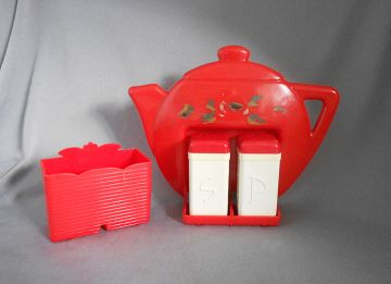1940s-1950s Vintage Retro Plastic Salt and Pepper Shakers with Red Teapot Holder and Condiment Container, U.S.A. in X-SOLD GALLERY