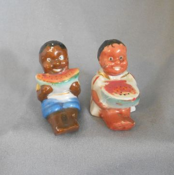 Vintage 1930s Black Americana Children Eating Watermelon Salt and Pepper Shakers, Japan in black Americana