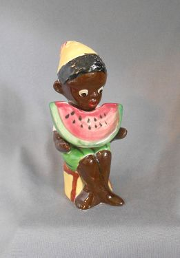 1960s Vintage Black Americana Seated Boy with Watermelon Salt and Pepper Shakers, Japan in black Americana