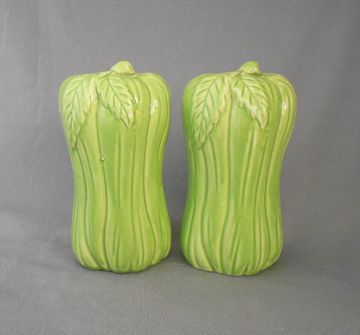 1960s Vintage Celery Salt and Pepper Shakers, Japan in food related