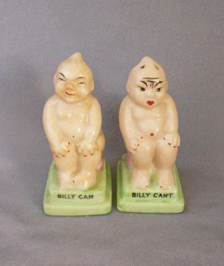 Vintage 1920s -1930s Humorous Lucky Billiken Salt and Pepper Shakers, Japan in figural
