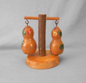 1930s Vintage Wood Hanging Salt and Pepper Shakers in wood