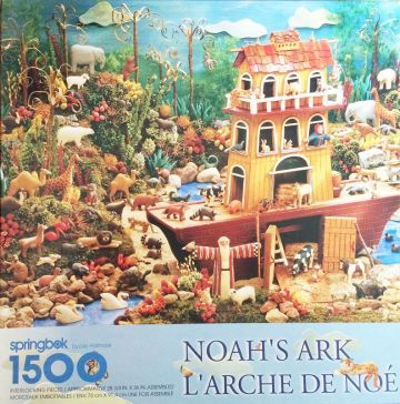 1980s Vintage Noah's Ark 1500 Piece Springbok Puzzle, Large Elaborate Puzzle Toy, RETIRED Springbok Number PZL9029, Complete in Mint Condition! in X-SOLD GALLERY