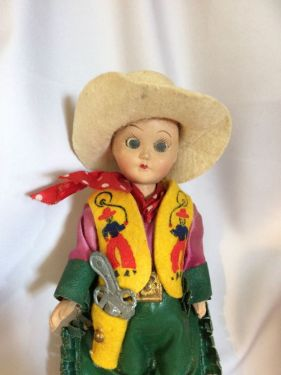 1960s Vintage Cowgirl Doll with Blinking Eyes Moveable Limbs, Plastic Celluloid Doll with Leather Chaps, Cowboy Vest and Toy Gun! in TOYS
