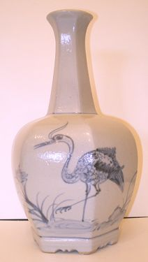 Vintage Artist Signed Hand Painted Japanese Art Pottery Cobalt Stoneware Vase with Heron and Grasshopper in VASES & PLANTERS