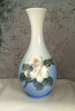 1963 Vintage Royal Copenhagen Porcelain Vase with Dogwood Blossoms, Artist Signed in VASES & PLANTERS