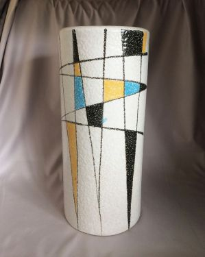 1950s Vintage Abstract Atomic Vase, Mid Century Atomic Cylinder Vase Made in Japan, Mid Mod Decor in VASES & PLANTERS
