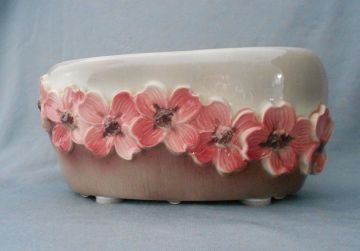 1940s Royal Copley Vintage Pink and Brown Dogwood Floral Planter Vase in X-SOLD GALLERY