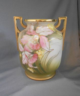 Side By Sides For Sale >> 1910s -1920s Antique Nippon Art Deco Hand Painted Orchid Floral Gilt Moriage Handled Vase ...