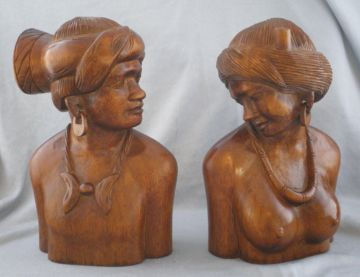 1940s Vintage Signed Artisan Hand Carved Nude Women Wood Bookends, Beautiful and Sensuous! in WOODENWARE