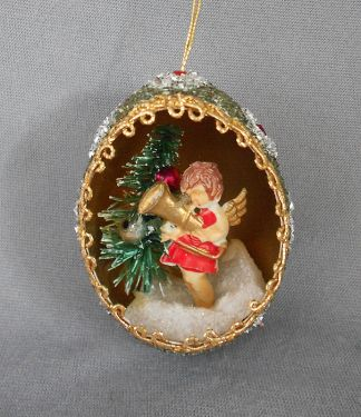 1940s -1950s Vintage Genuine Goose Egg Diorama Christmas Ornament, Angel with Bottle Brush Christmas Tree and Elaborately Jeweled Back in ornaments - dioramas