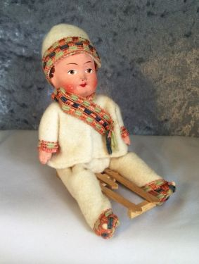 1910s Antique German Child on Sled Candy Container, Rare! Heubach Style Paper Maché Doll in decorations