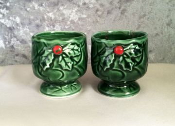 1970s Vintage Pair Lefton Green Holly Berry Ceramic Candle Holder Cups in decorations