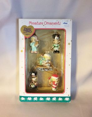 Precious Moments Miniature Christmas Ornaments IOB, Five Mini 1.5