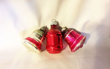 1940s Vintage Shiny Brite Trio Bells and Barrel Ornaments, Red Pink Silver Christmas Ornaments in ornaments - Shiny Brite