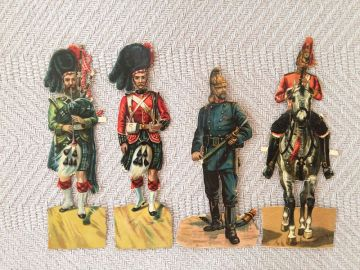 1880s German Christmas Ornament Paper Scrap Four Soldiers, Antique Victorian Christmas Ornament Paper Scrap Supplies, Antique Vintage Soldier Ornaments Rare in ANTIQUES