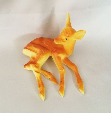 1960s Vintage Plastic Hong Kong Deer Fawn Laying Down Figurine, Celluloid Christmas Deer, Mid Century Christmas Decorations, Putz Display in decorations