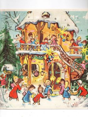 1950s Vintage German Advent Calendar with Envelope, Childrens Unused Count Down Christmas Calendar Angels in decorations